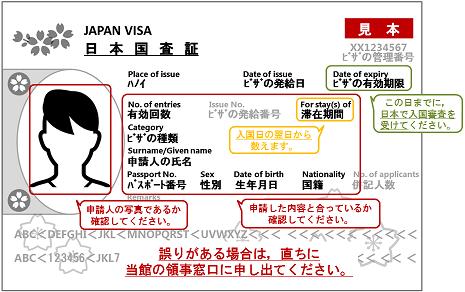 査証(VISA)のサンプル